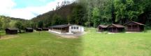 Panoramatický pohled na celý kemp. Zleva do prava: chata č. 5, 4,  3a2, 1, hostinec, vpravo chata č. 6,7,8
